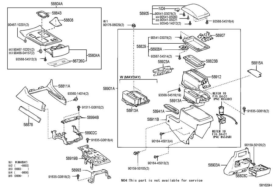 lexus lx470 4700cc 32 valve dohc efi automatic 5 speed console box bracket. Black Bedroom Furniture Sets. Home Design Ideas