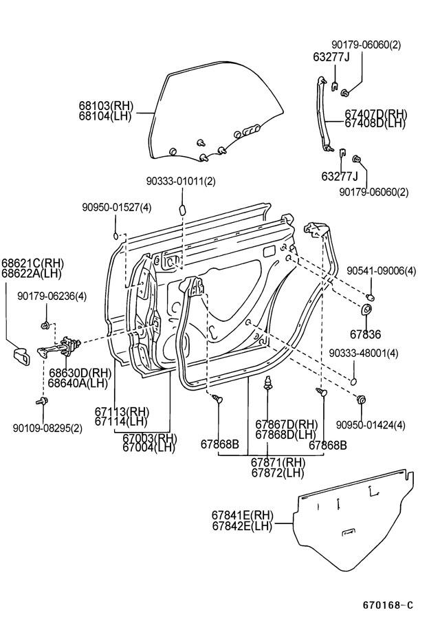1997 lexus es300 rear door panel  u0026 glass