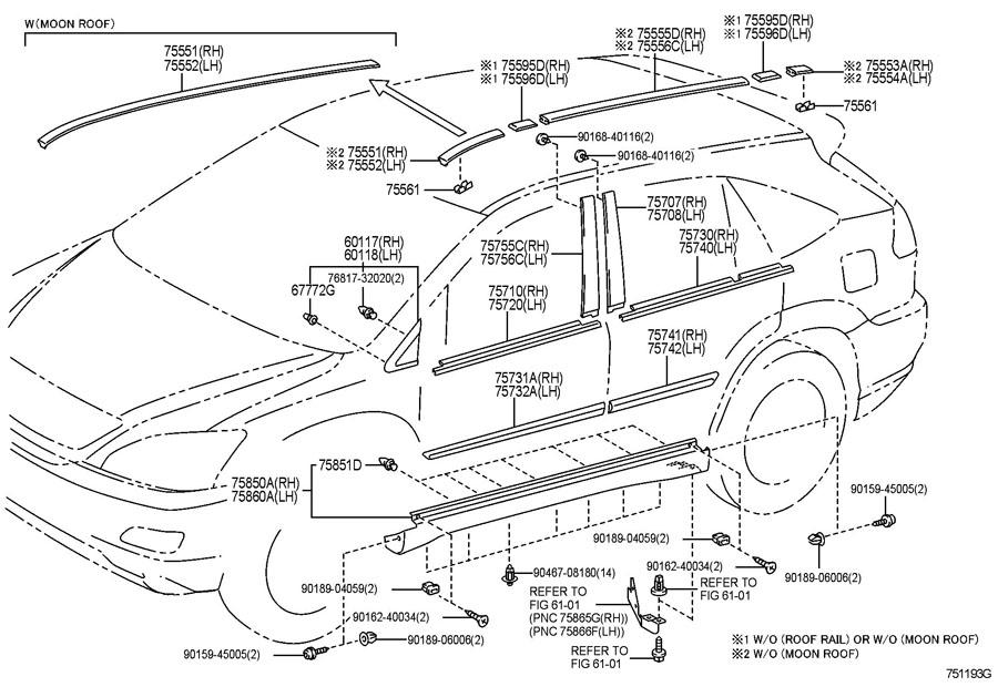 Lexus Rx330 Wagon  Standard Side Moulding