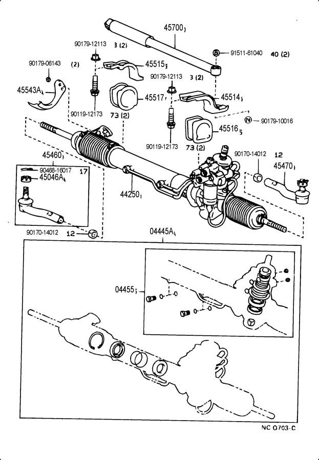 1994 lexus ls400 front steering gear  u0026 link